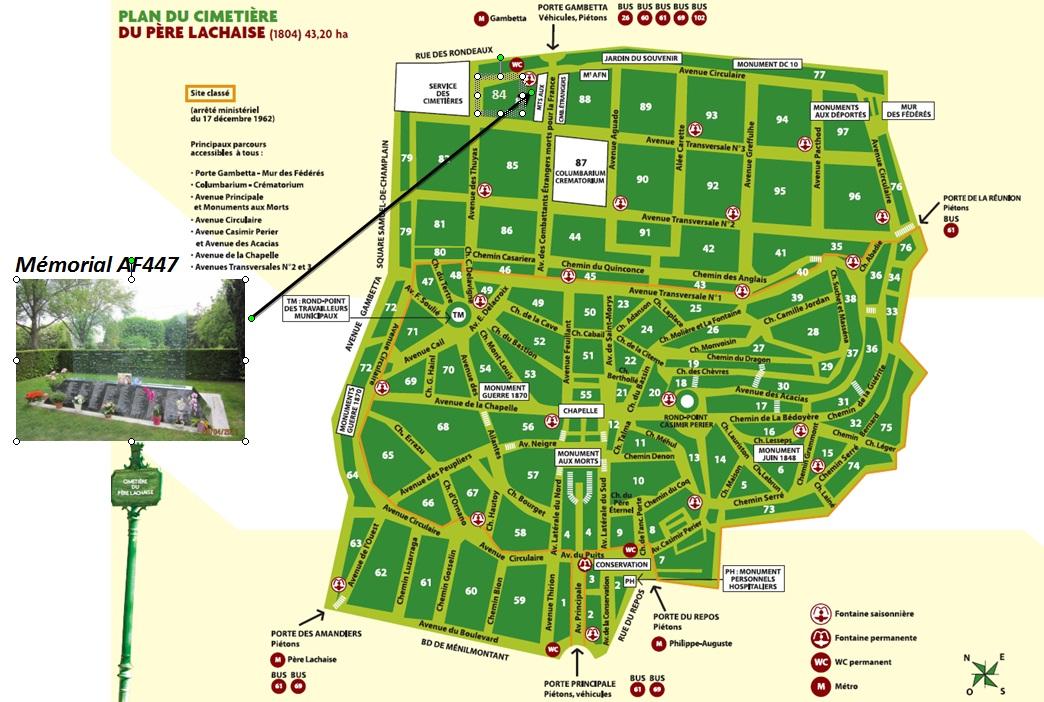 Plan d'accès à la stèle érigée au cimetière du Père-Lachaise à Paris